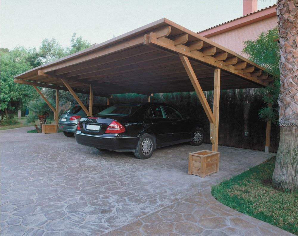 carport 3 voitures bois. Black Bedroom Furniture Sets. Home Design Ideas